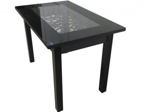 Стол Ажурный венге черный под стеклом