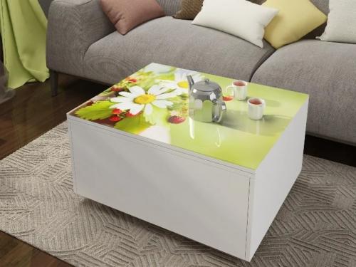 Стол трансформер Риал с ящиком Белый с фотопечатью