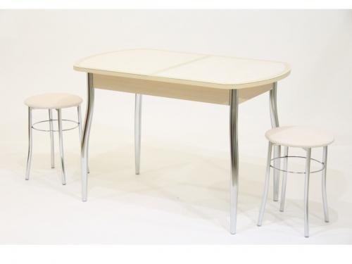 Стол раздвижной с бежевой кожей под стеклом Гала 13