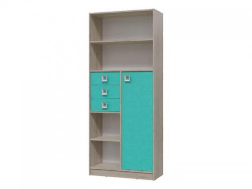 Шкаф стеллаж с дверкой и ящиками Сити Аква