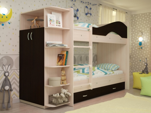 Кровать двухъярусная Мая со шкафом