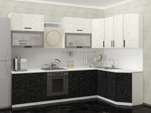Модульная кухня Комфорт черно-белые цветы