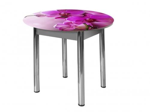 Стол круглый Форт Орхидея за стеклом
